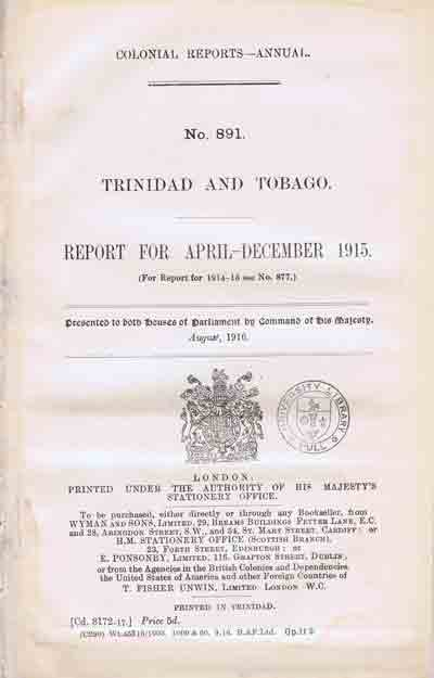 TRINIDAD AND TOBAGO Report for April - December 1915.