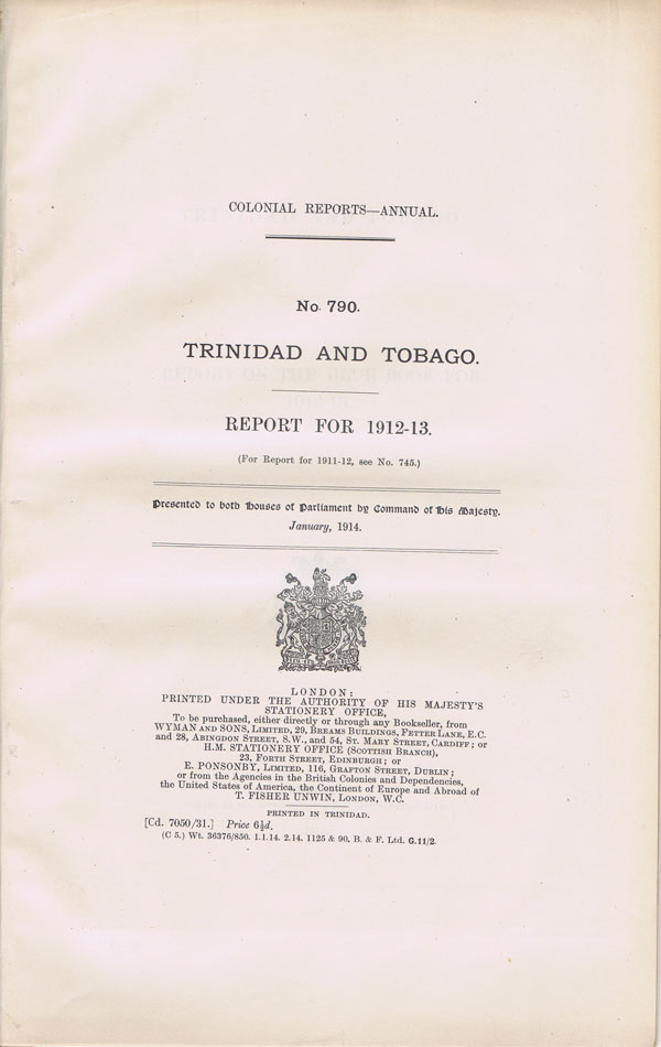 TRINIDAD AND TOBAGO Report for 1912-13.