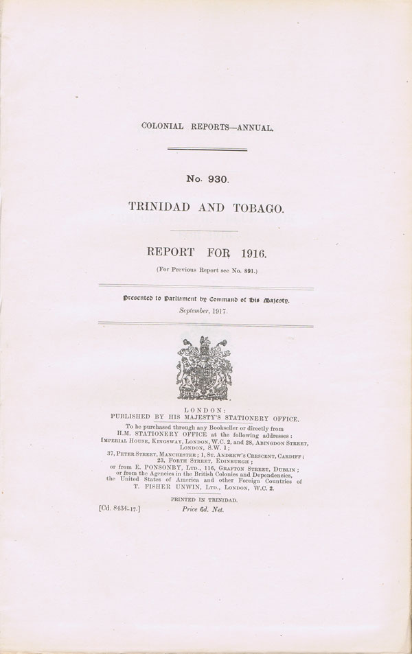 TRINIDAD AND TOBAGO Report for 1916.