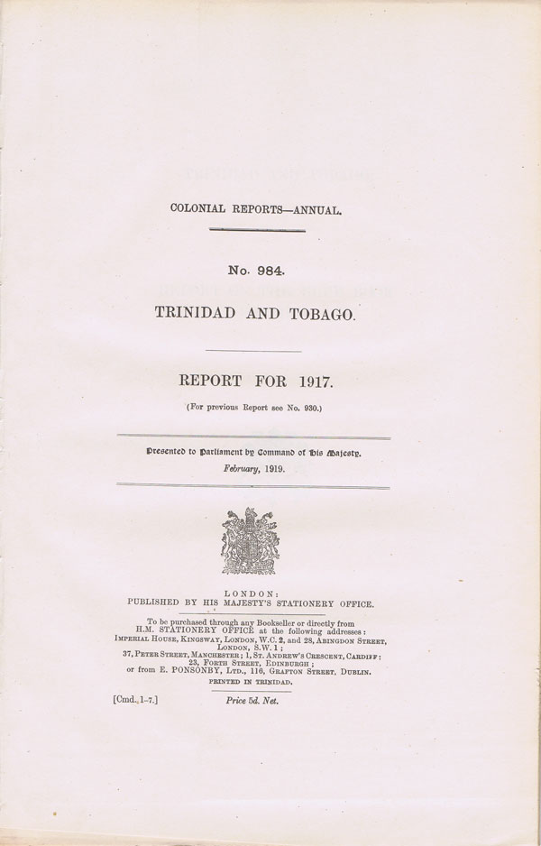 TRINIDAD AND TOBAGO Report for 1917.