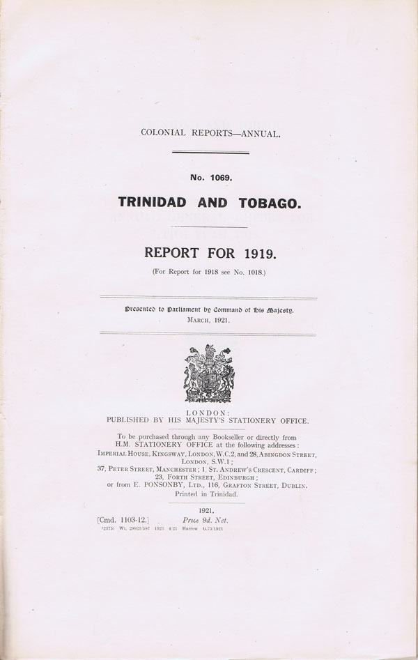 TRINIDAD AND TOBAGO Report for 1919.
