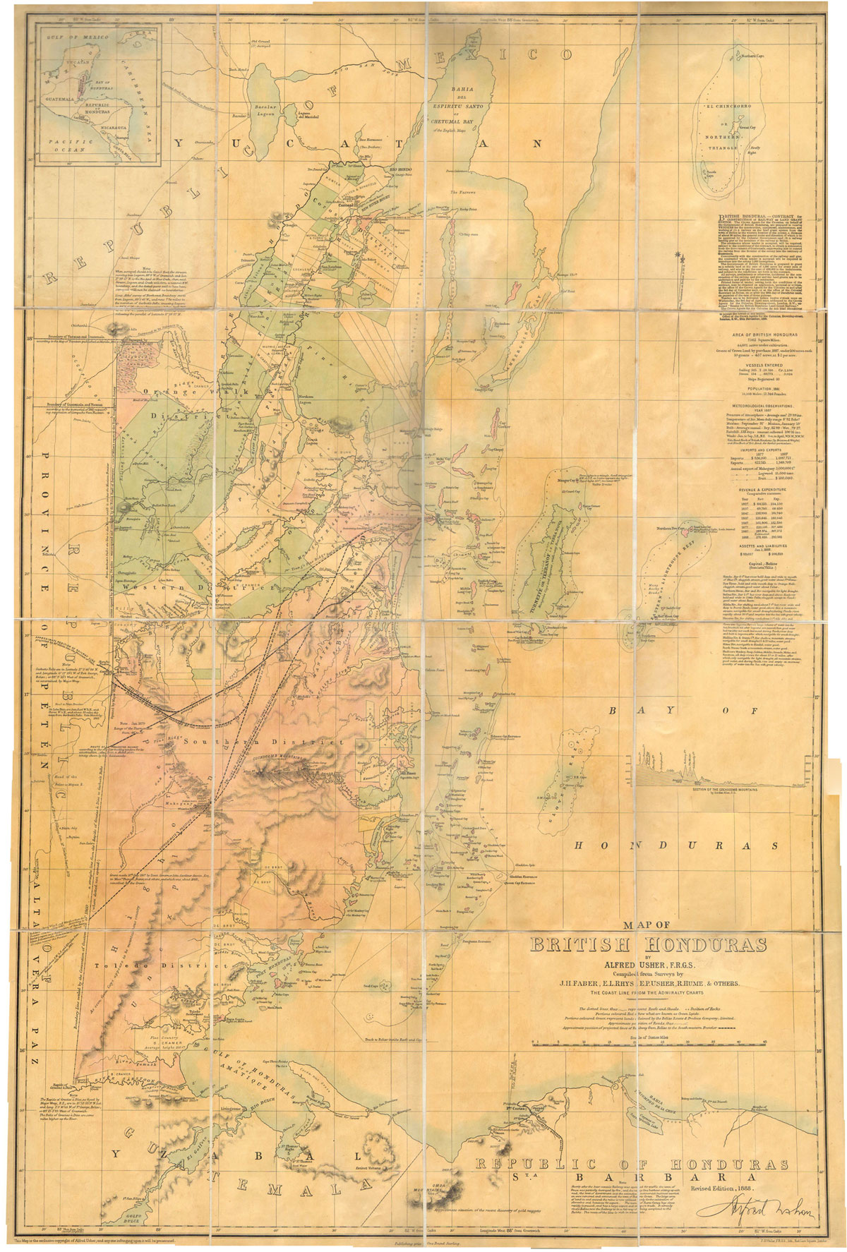 USHER A. Map of British Honduras. - Compiled from Surveys by J.H. Faber, E.L. Rhys, E.P. Usher, & others.  The coastline from the Admiralty Charts.