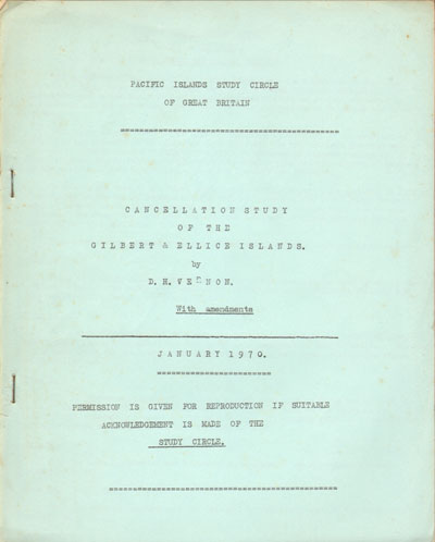 VERNON D.H. Cancellation study of the Gilbert & Ellis Islands