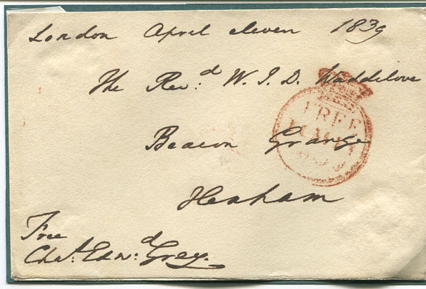 GREY Sir Charles Edward His signature on a 1839 free front.