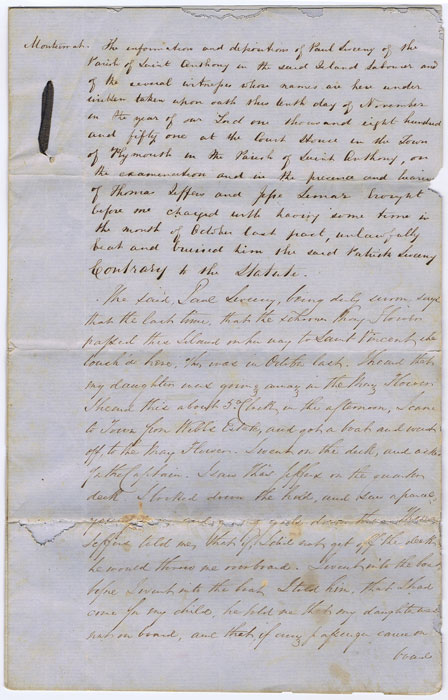 1851 Montserrat manuscript statement under Oath taken at the Court House in Plymouth.