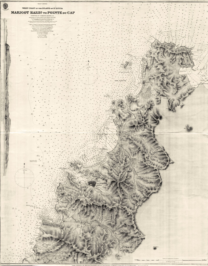 ADMIRALTY CHARTS West Coast of the island of St Lucia. Marigot Harbr. to Pointe du Cap. - Surveyed by J. Parsons, Master, R.N. Assisted by J.P. Dillon & W.B. Calver, Masters, R.N. 1863.