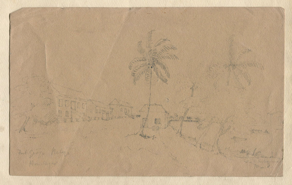 1840 (circa) Fort George, Belize and Christ Church Belize.