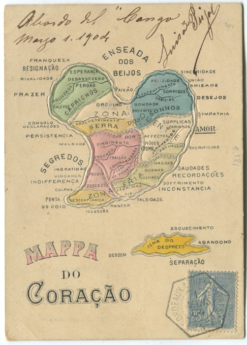 1904 Mappa do Coracao. (Map of Love) embossed postcard