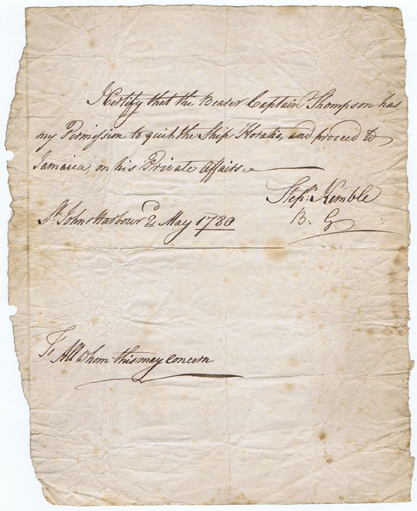 1780 manuscript passport signed by Stephen Kemble while in St Johns Harbour on the coast of Nicaragua on 2 May.