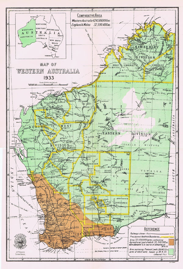 CAMM J.P. Map of Western Australia.