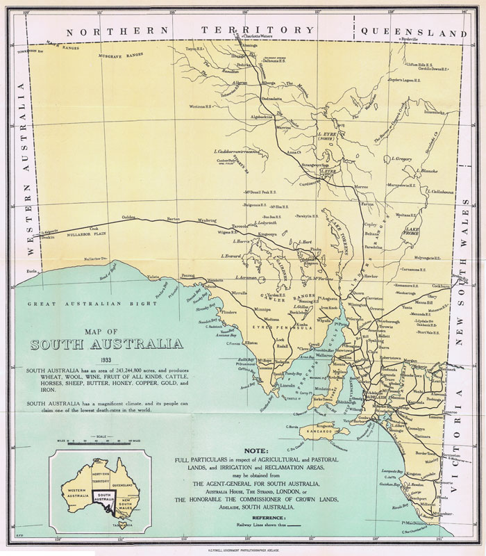 POWELL H.E. Map of South Australia.
