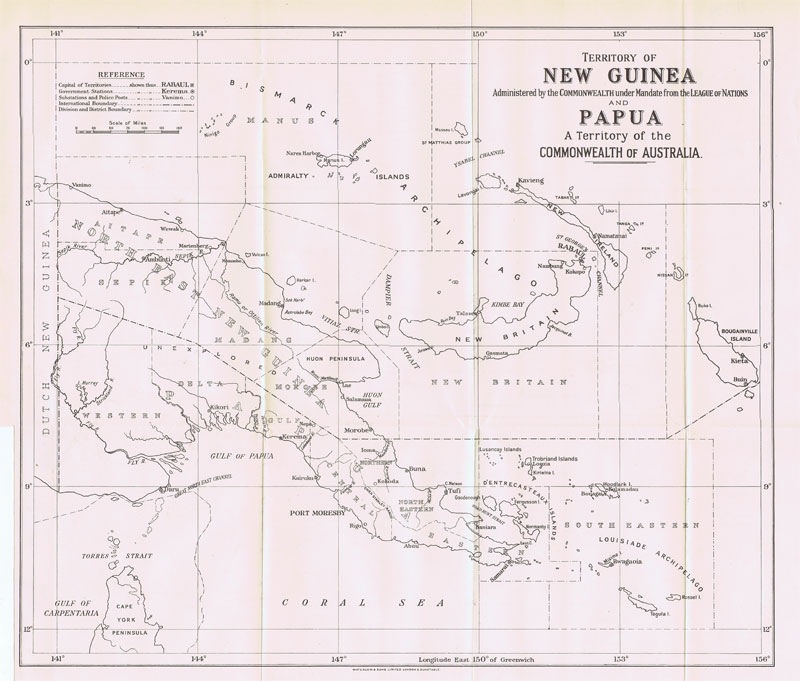 WATERLOW & SONS Territory of New Guinea administered by the Commonwealth under mandate from the League of Nations and Papua, a territory of the commonwealth of Australia.
