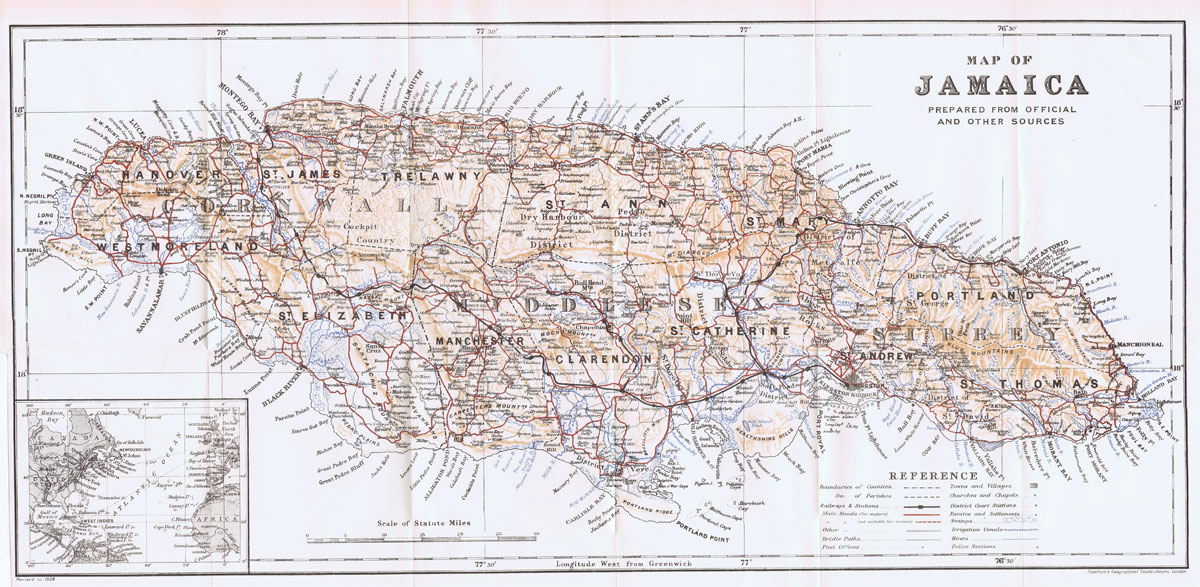EDWARD STANFORD Map of Jamaica prepared from official and other sources