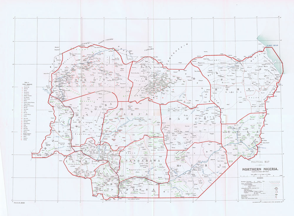 ORDNANCE SURVEY Political map of Northern Nigeria