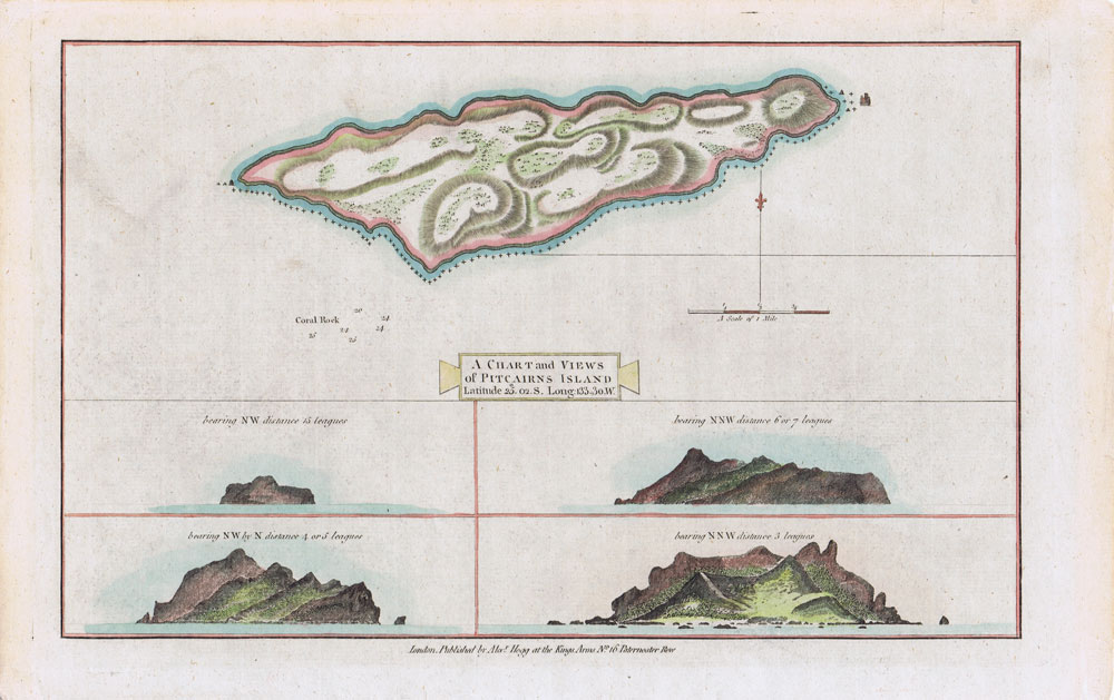 HOGG Alexander A chart and views of the Pitcairn Islands.