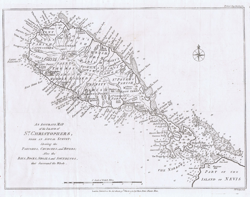 BEW J. An Accurate Map of the Island of St Christophers, - from an accurate survey;  Shewing the Parishes, Churches and Rivers; Also the Bays, Rocks, Shoals and Soundings, that Surround the Whole.