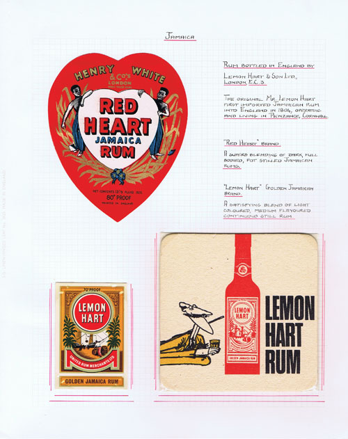 RUM Collection of rum bottle labels and ephemera.