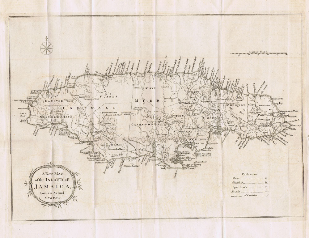 ANON A New Map of the Island of Jamaica, from an actual Survey.