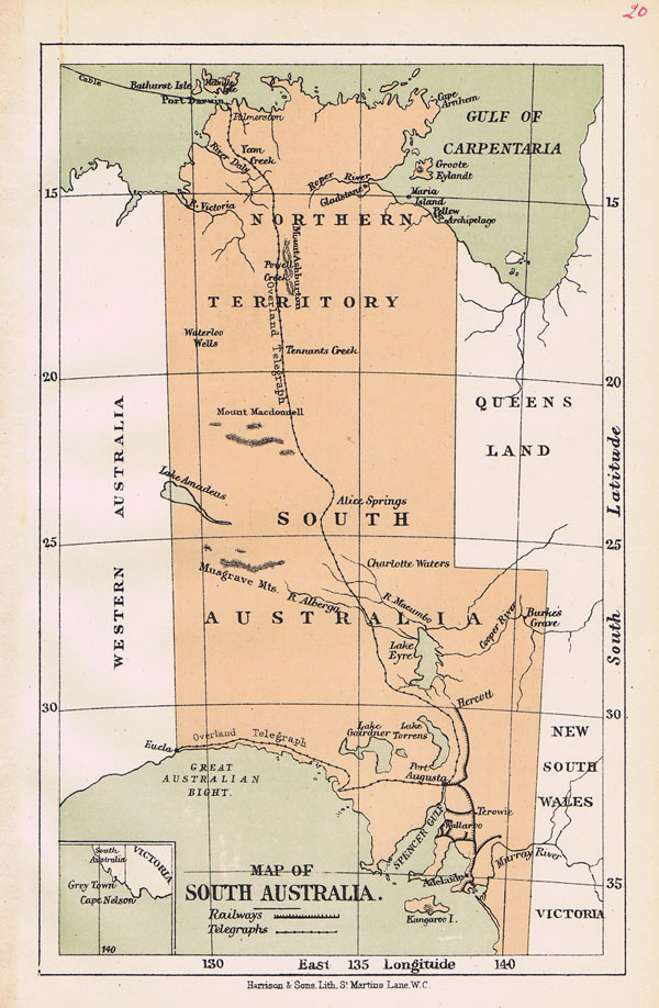 HARRISON & SONS Map of South Australia.