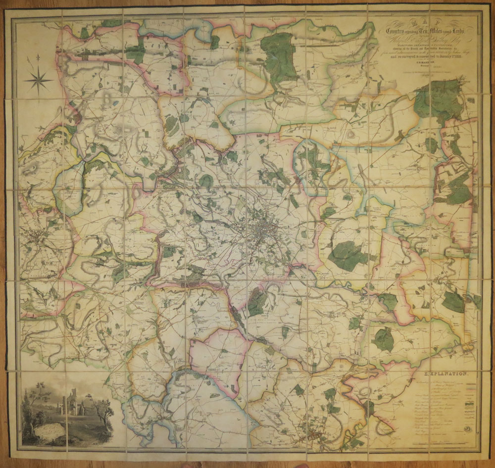 MARTIN S.D. Map of the County Extending Ten Miles Round Leeds, including Wakefield, Bradford, Dewsbury, Otley, Harewood, Aberford & Castleford; - shewing all the Parish and Township Boundaries, &c, from actual admeasurements in the years 1819, 20, & 21 by Joshua Thorp; and re-surveyed & corrected to January 1st 1831.