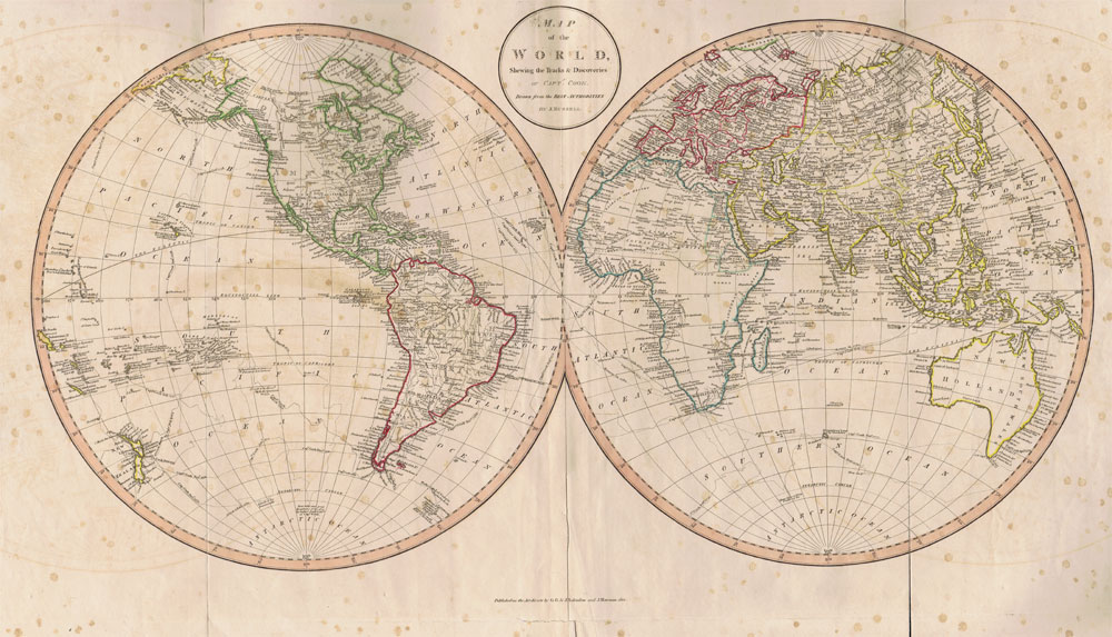 RUSSELL J. Map of the World, - shewing the tracks & discoveries of Captn. Cook, drawn from the best authorities.