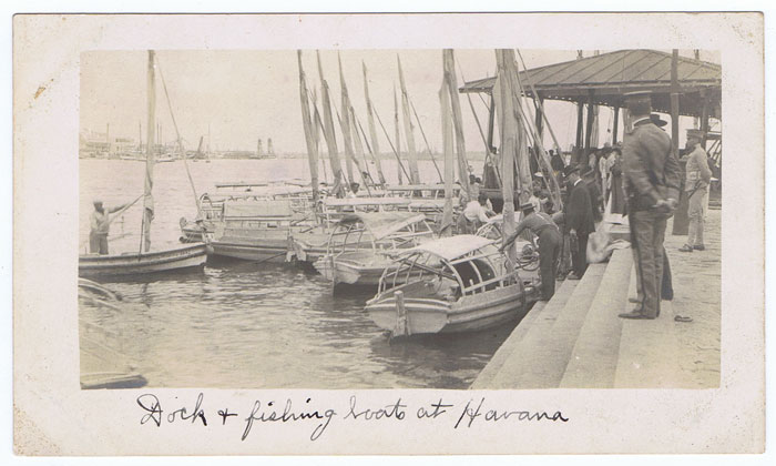 1910 (circa) fine photograph of Dock & fishing boats at Havana.