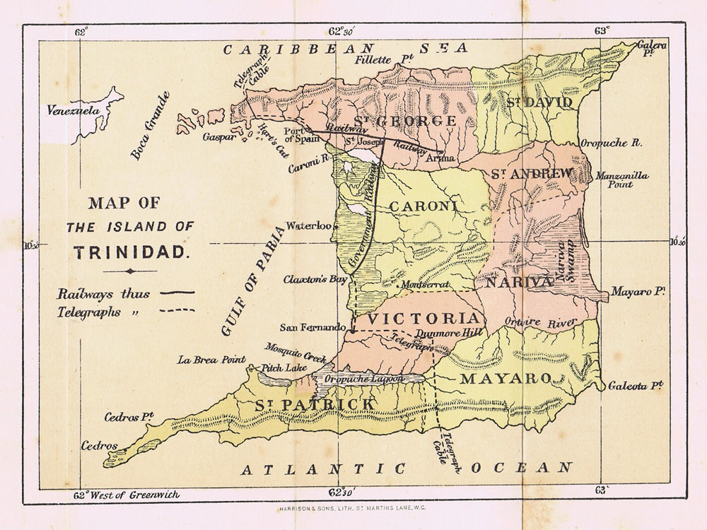 HARRISON & SONS Map of the Island of Trinidad.