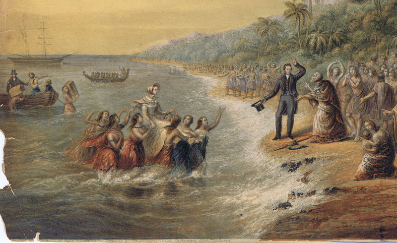 BAXTER George The Rev. J. Waterhouse superintending the landing of the missionaries at Taranaki New Zealand
