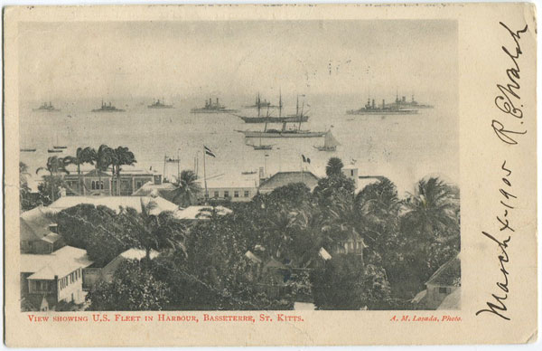 A.M. LOSADA View showing U.S. Fleet in Harbour, Basseterre, St Kitts.