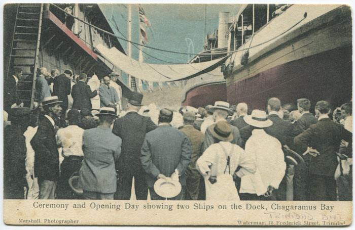 WATERMAN Ceremony and Opening Day showing two Ships on the Dock, Chagaramus Bay.