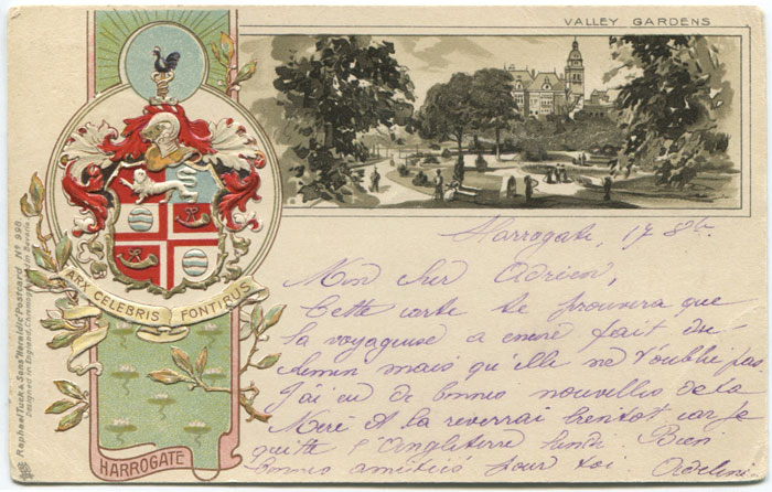 RAPHAEL TUCK & SONS Valley Gardens Harrogate embossed heraldic postcard