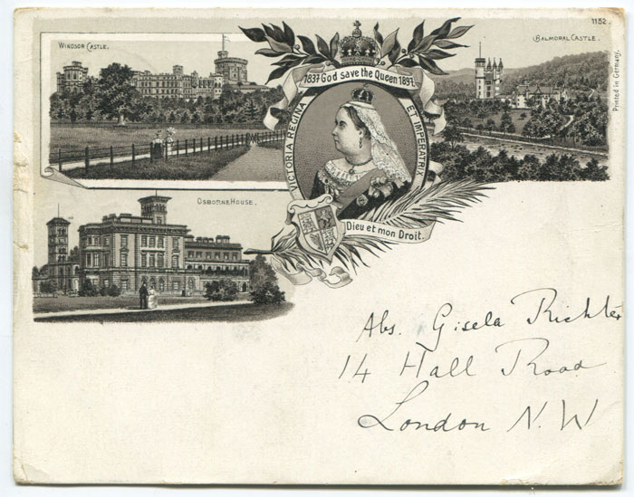 ANON Early court size postcard commemorating Queen Victoria