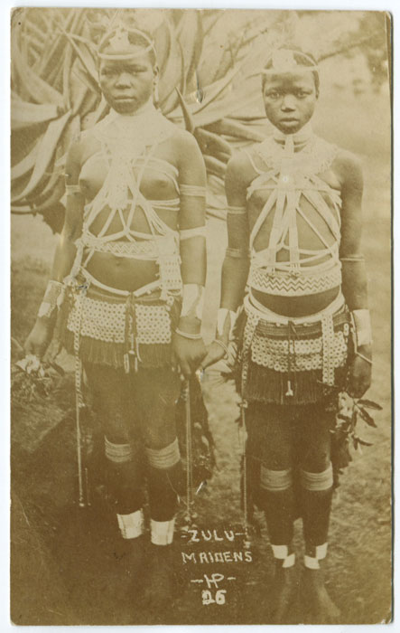 ANON Zulu maidens, old real photo postcard.