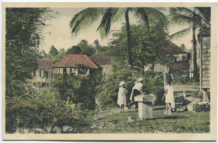 V.E. JOHN Village Scene, St Kitts, B.W.I.
