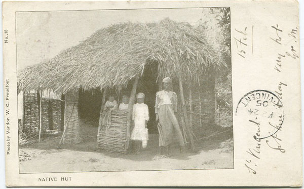 W.C. PROUDFOOT Native Hut. No 13.