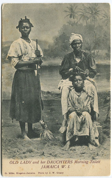 O. MILKE Old Lady and her Daughters Morning Toilett, Jamaica W.I.