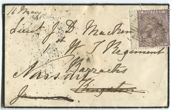 1857 mourning cover from London to Kingston, Jamaica and re-directed to Nassau, Bahamas.