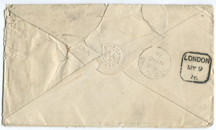 1876 cover from London to the British Consul in Panama.