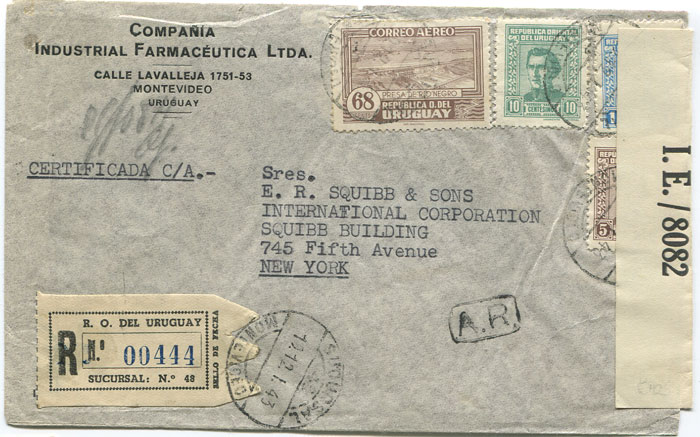 1943 reg. airmail cover from Uruguay to New York