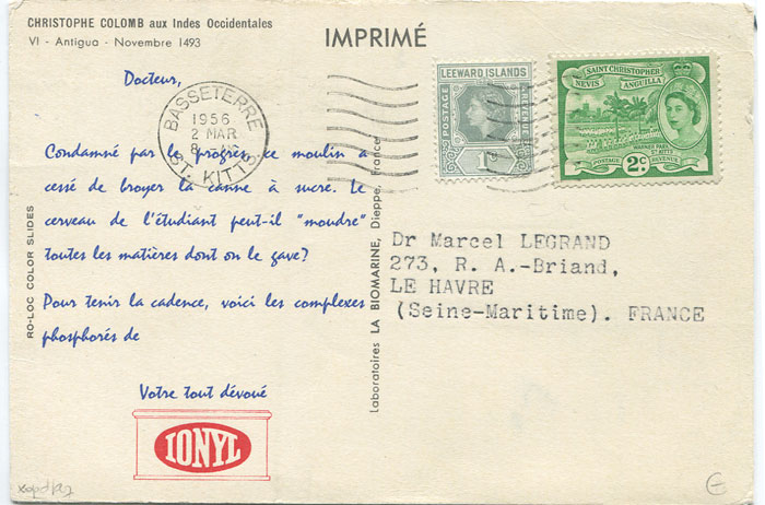 1956 p.p.c. to France with scarcer combination franking