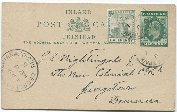 1905 Trinidad postal stationery 1902 �d postal card used to Demerara