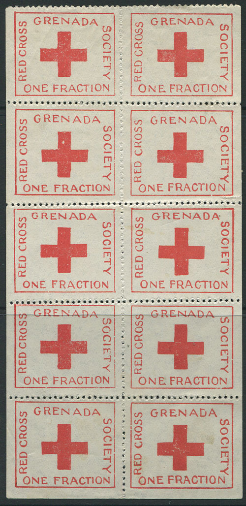 1914 Red Cross �d charity label in complete sheet of 10, fine unused.