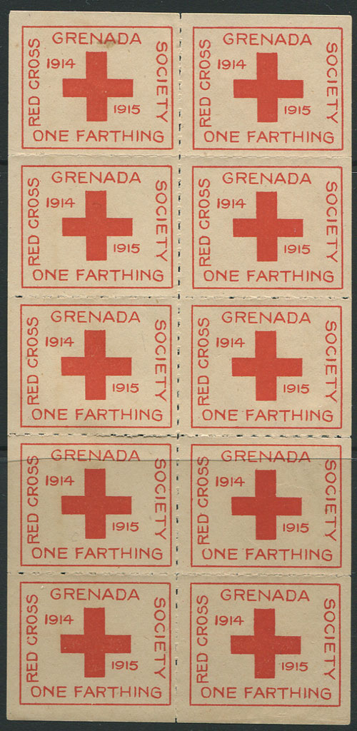 1915 Red Cross �d charity label, complete sheet of 10, unused.
