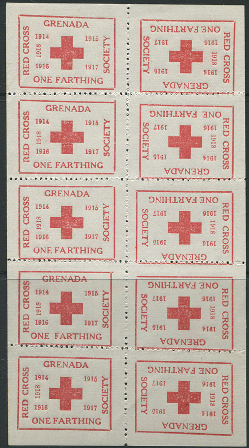 1918 Red Cross �d charity label, complete sheet of 10, unused.