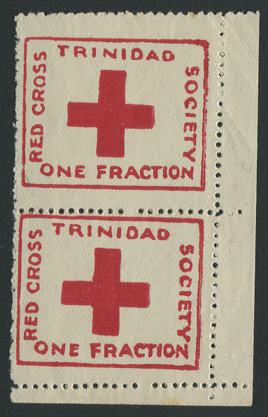 1914 Red Cross �d charity label, (SG157), corner marg. pair, unused.