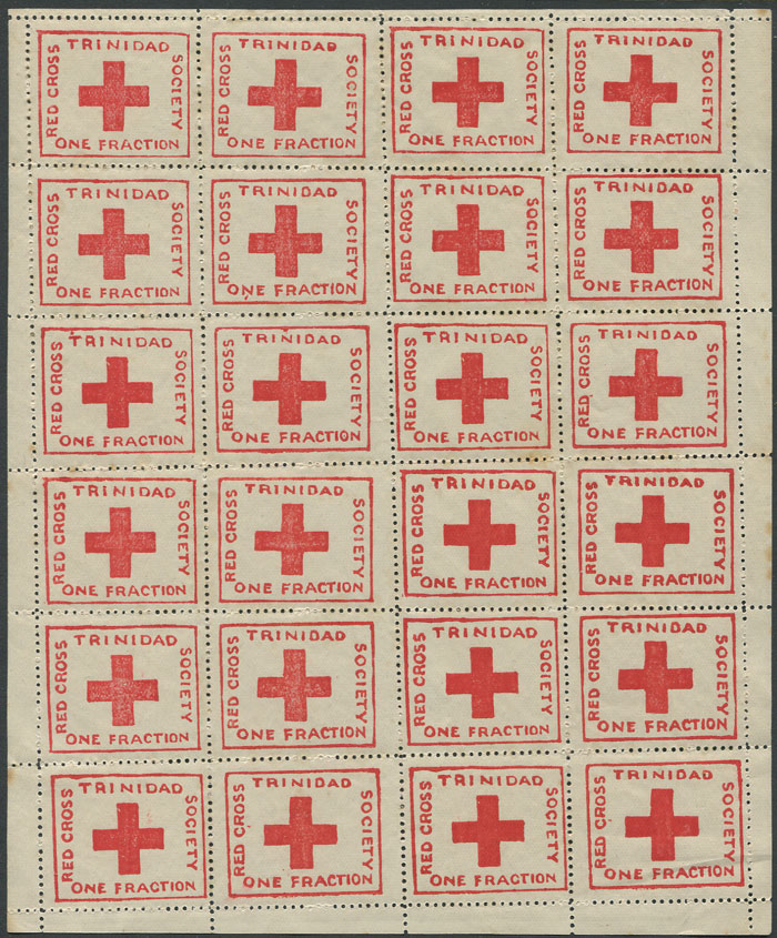 1914 Red Cross �d charity label, (SG157), complete sheet of 24, fine mint.