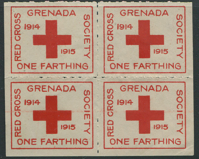 1915 Red Cross �d charity label, block of 4, unused.