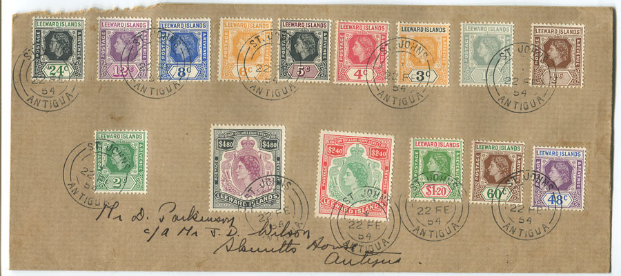 1954 local F/S size cover with Leewards 1954 set to $4.80 all tied by St Johns Antigua cds