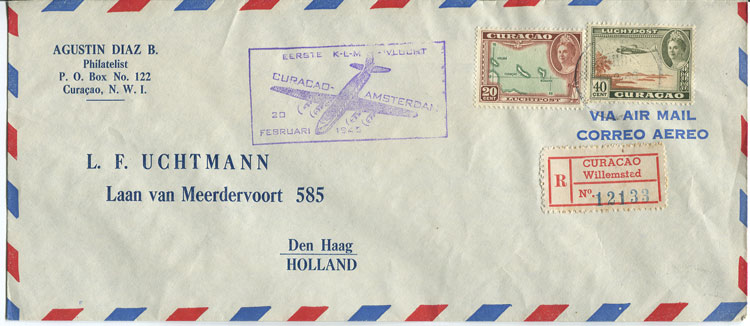 1946 (20 Feb) reg. First Flight Cover Curacao - Amsterdam per K.L.M.