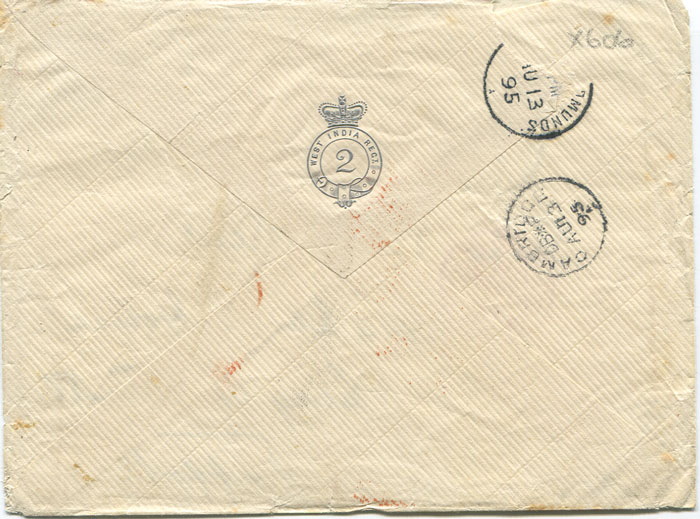 1895 (26 July) West India 2nd Regiment embossed envelope